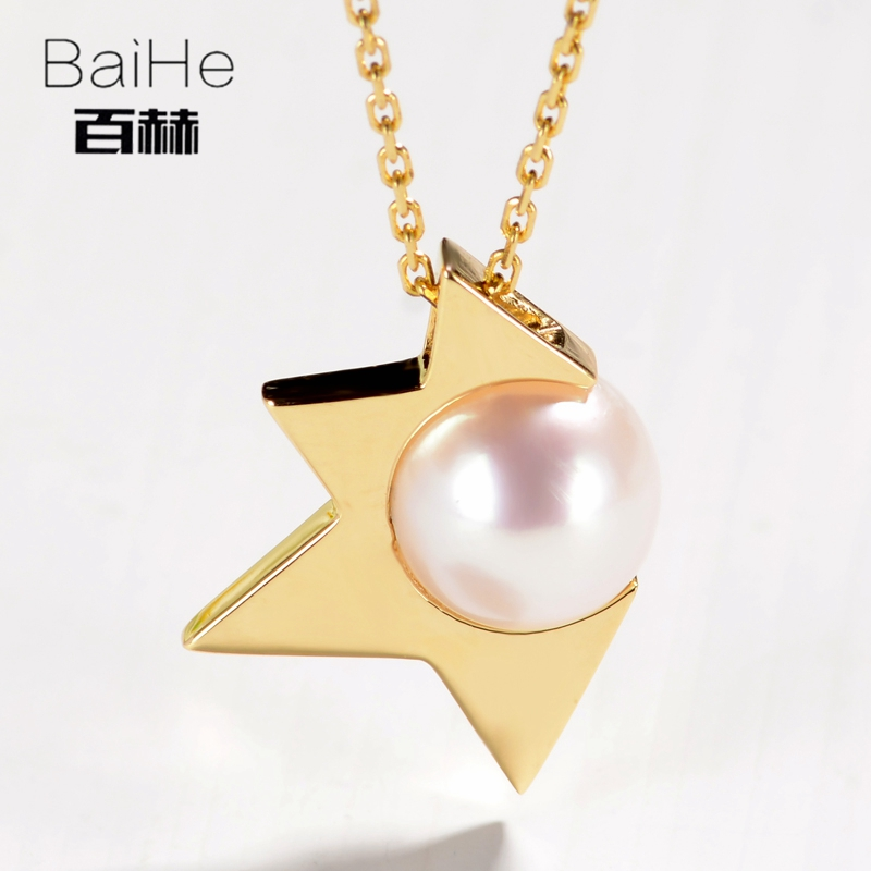 BAIHE Solid 14K Yellow Gold 7.5MM Certified Round CUT 100% Genuine Freshwater Pearl Women Trendy Fine Jewelry Elegant Necklaces 1pcs dn20mm manual wire bender 500mm inner pipe bending spring pvc wire spring tube bender silver