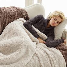 2 Sizes Lamb Cashmere Throw Blanket Warm Soft Blankets for Beds Fluffy Fuzzy Fur Blanket Solid Thick Office Home Blanket Towel