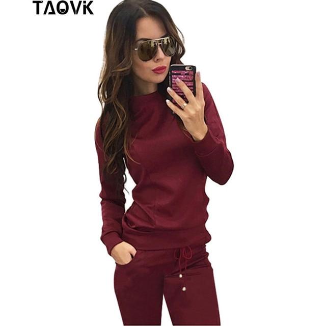 TAOVK 새로운 러시아 스타일 여성 와인 레드 & 살구, 조각 스웨터 + 긴 바지 레저 운동복