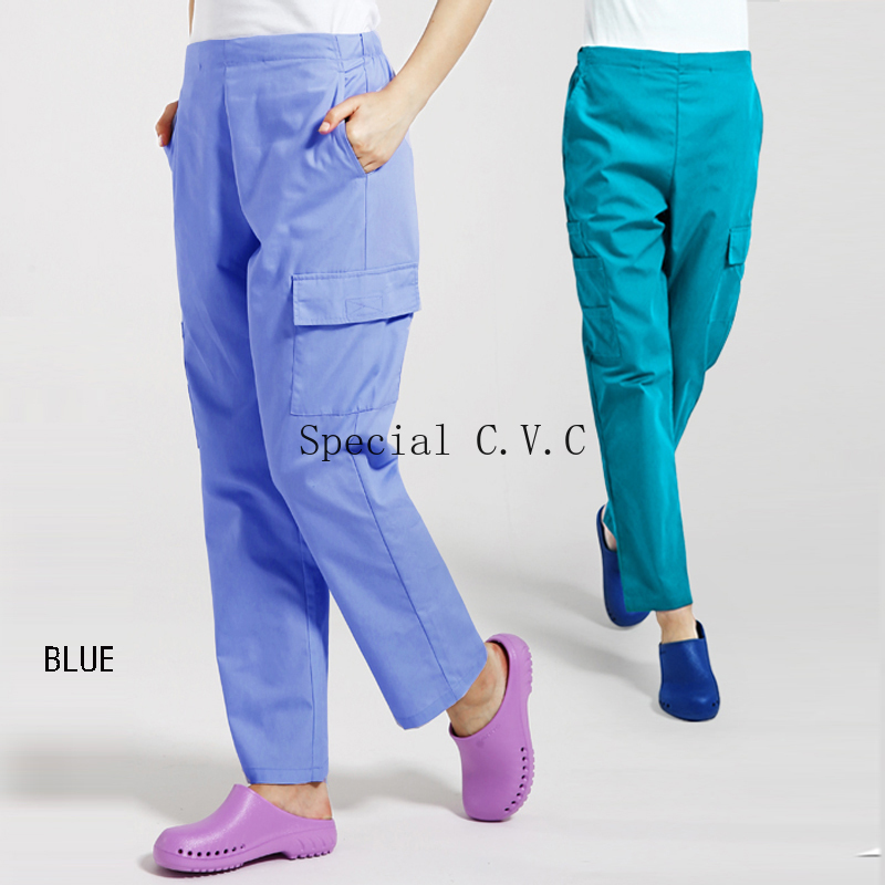 Women Men Scrubs Pants With Six Pockets Medical Uniforms Doctor Nurse Workwear Scrub Bottoms Cotton