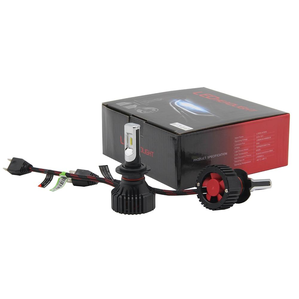 60W 8000LM 6000K H7 LED Conversion Kit T8 Headlight Low/High Beam Fog Light Bulbs Extremely Bright 6xCSP LED Headlight pair