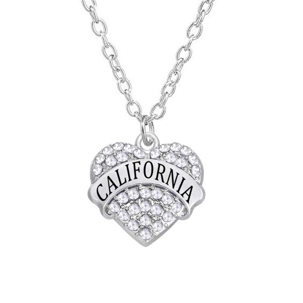 Aliexpress New Fashion Crystal Hearts California State Pave Charm Link Chain Necklaces(China)