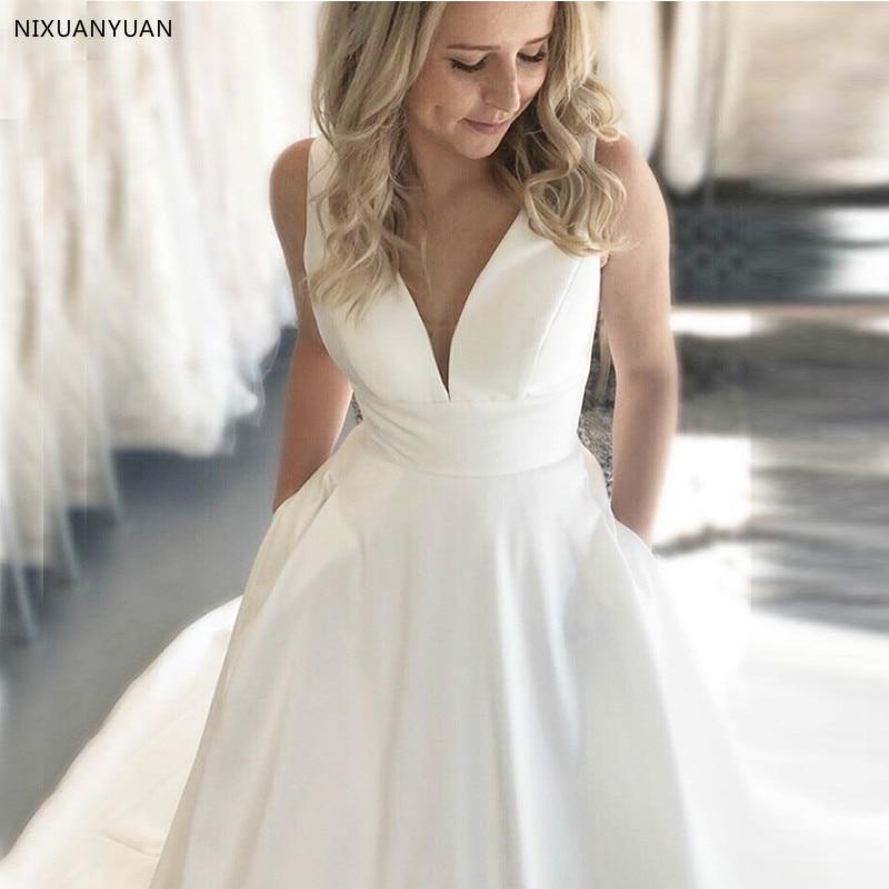 Simple Vestidos De Noiva Wedding Dresses V-neck Sleeveless White Ivory Satin Backless Bridal Dresses Cheap Women Bridal Gowns