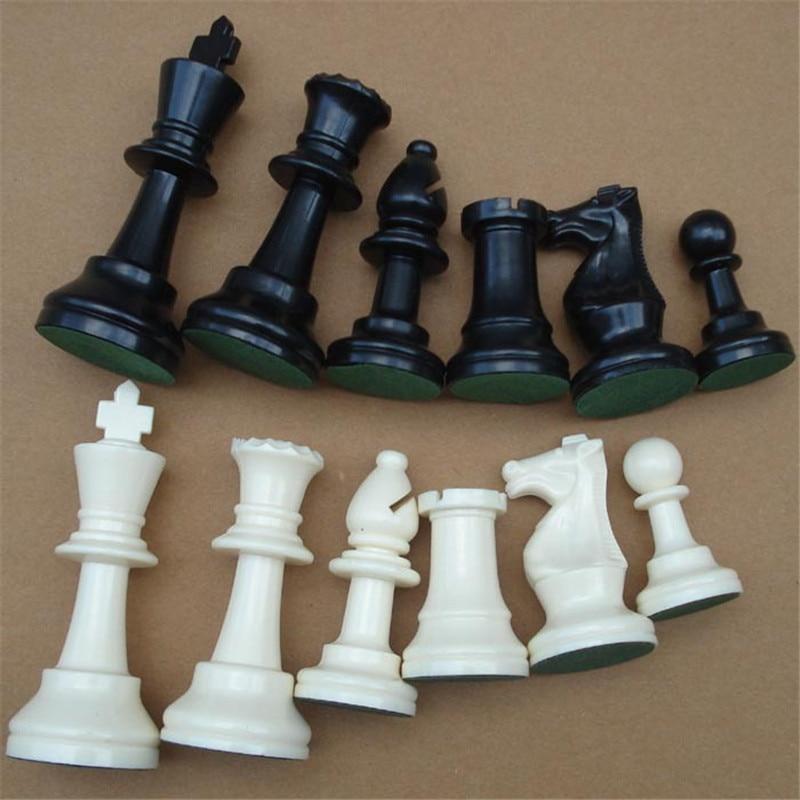32 piezas medievales de ajedrez / plasticos, juegos de ajedrez completos, juegos internacionales de ajedrez, palabras, en blanco y negro, 64/77 mm P25