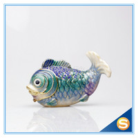 Wholesales Nemo Fish Handmade Jeweled Metal & Enamel Trinket Box