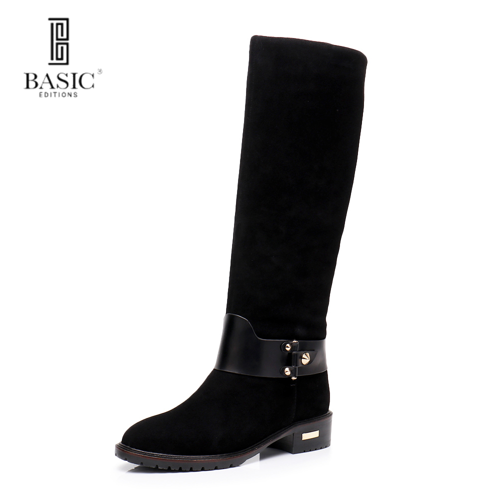 Basic Editions Women Winter Genuine Suede Leather Low Stacked Heel Round Toe Zipper Fastened Casual Boots - 2338-1618ME 2017 new arrival winter plush genuine leather basic women boots knight zipper round toe low heel knee high boots zy170904