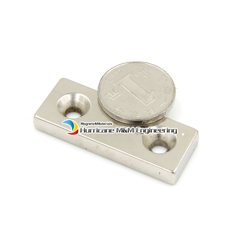 12pcs/lot NdFeB Fix Magnet 50x20x5 mm with 2 M5 Screw Countersunk Hole Block N42 Neodymium Rare Earth Permanent Magnet nt125whm n42 fit b125xtn01 0 12 5led lcd screen edp 30pins 2 special screw hole