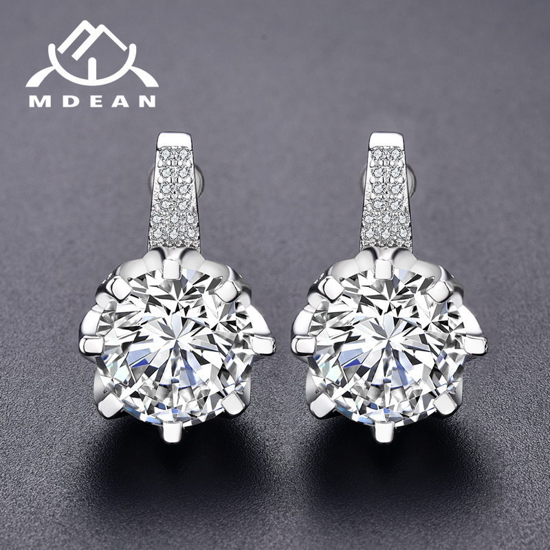 MDEAN White Gold Color Stud Wedding Earrings for Women  AAA Zircon Pendientes Mujer Moda Jewelry Boucle D'oreille Earring A189