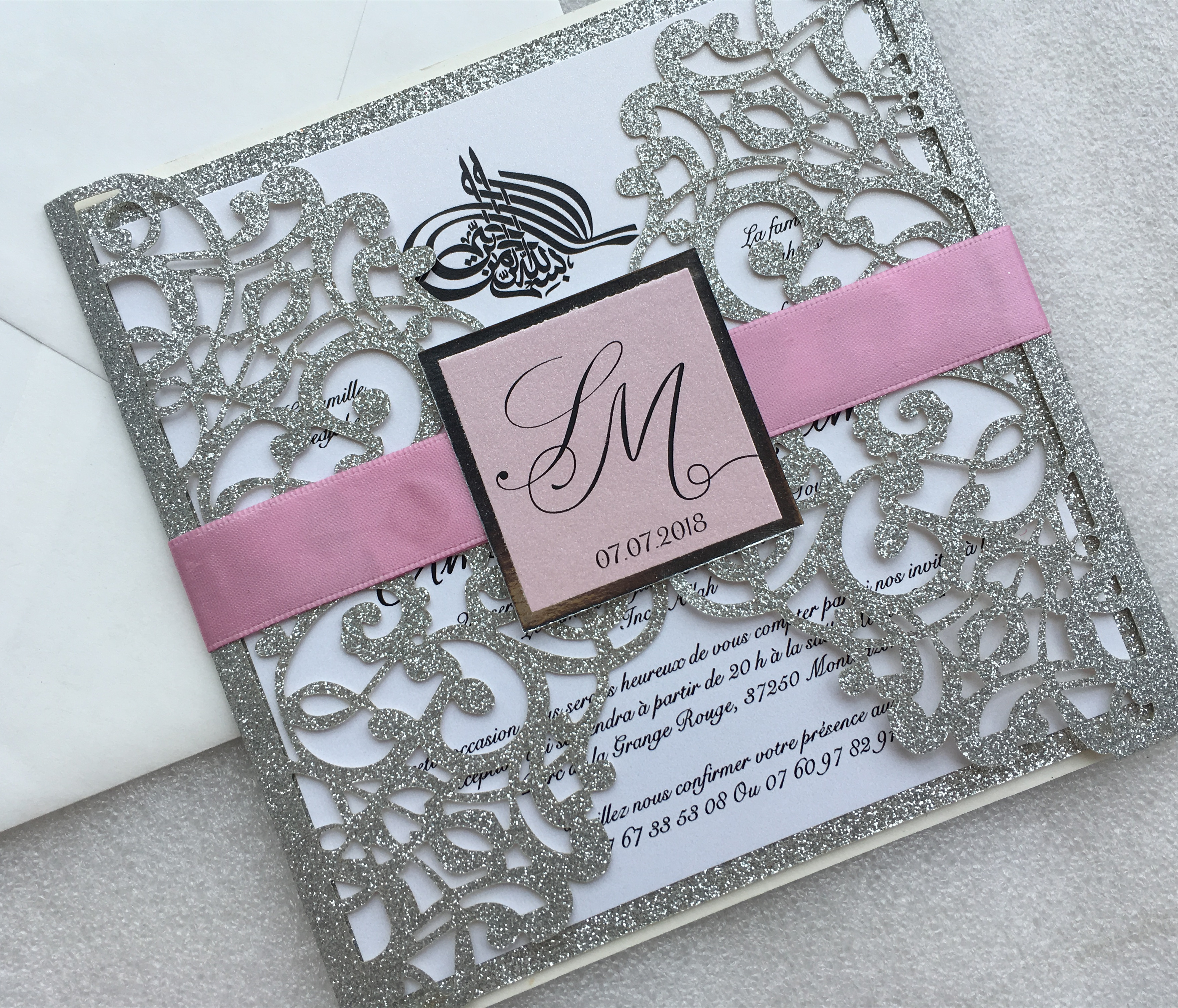 Laser Cut Glitter Silver Wedding Party Invitations Customized Marriage Engagement Invitation Cards 50PCS Express Shipping