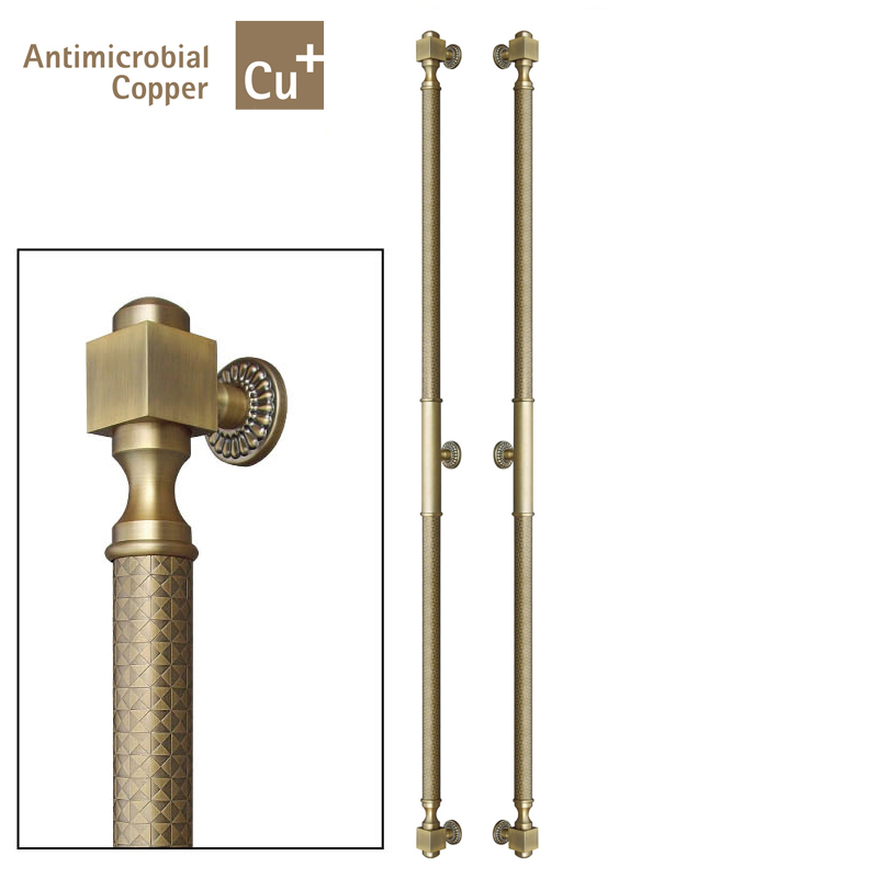 Precision Casting Antimicrobial Copper Cu+ Pull Handles PA-987-51*2000mm Entrance Door Handle For All Kinds Of Doors antimicrobial activity of brownlowia tersa