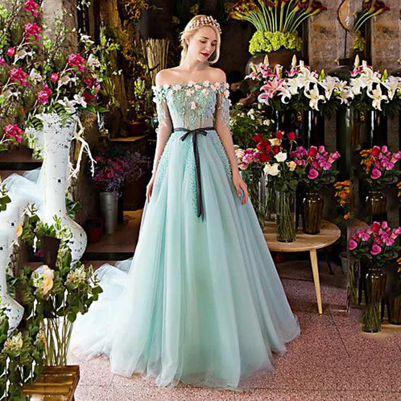Couture Evening Gowns And Dresses: 2017 Haute Couture Mint Green Floral Evening DResses Long
