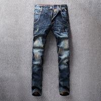 Italian Style Vintage Design Men Jeans Retro Wash Ripped Jeans For Men Fashion Streetwear Hip Hop Jeans homme Classical Jeans
