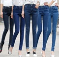 2016 novedades mujer jeans plus size slim jeans stretch Denim Pantalones Pantalones Negro y azul Lápiz Pantalones Vaqueros de Las Mujeres