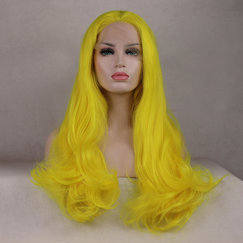 Marquesha Realistic Looking Long Wavy Heat Resistant Fiber Synthetic Lace Front Yellow Wig For Women