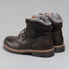 , Зимние ботинки очень теплые размер 35 ~ 48 из натуральной кожи ручной работы Мужская зимняя обувь # BG1570