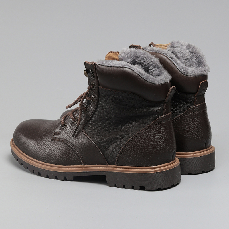 HECRAFTED Winter Snow Boots Super Warm Size 35~48 Genuine Natural Leather Handmade Men Winter <font><b>Shoes</b></font> #BG1570