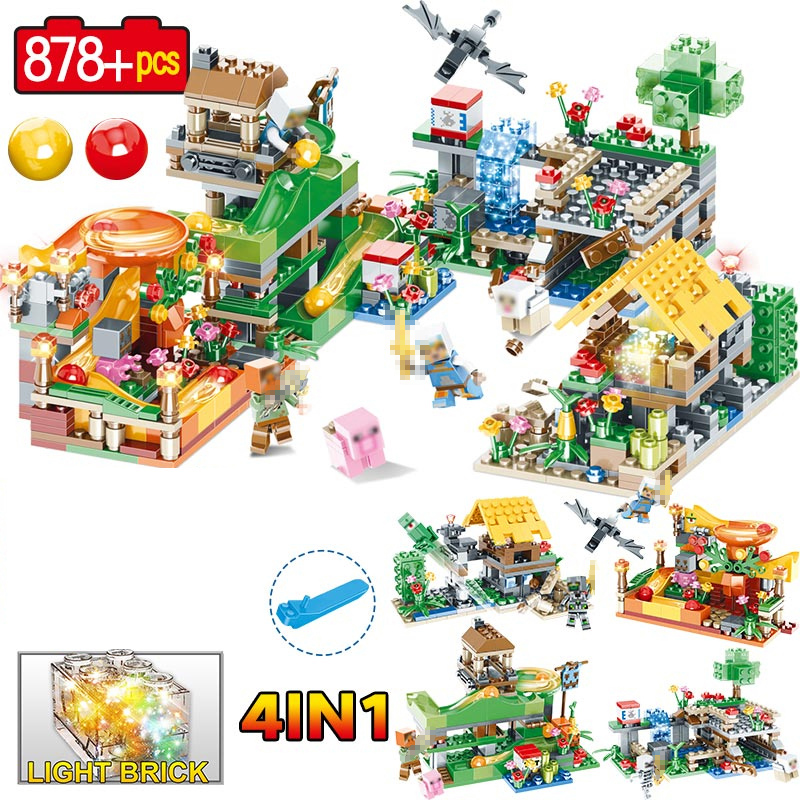 Crystal Light Action Toy Figures Building Blocks Educational Toy My world Compatible LegoINGLY Minecrafter Toys for Children