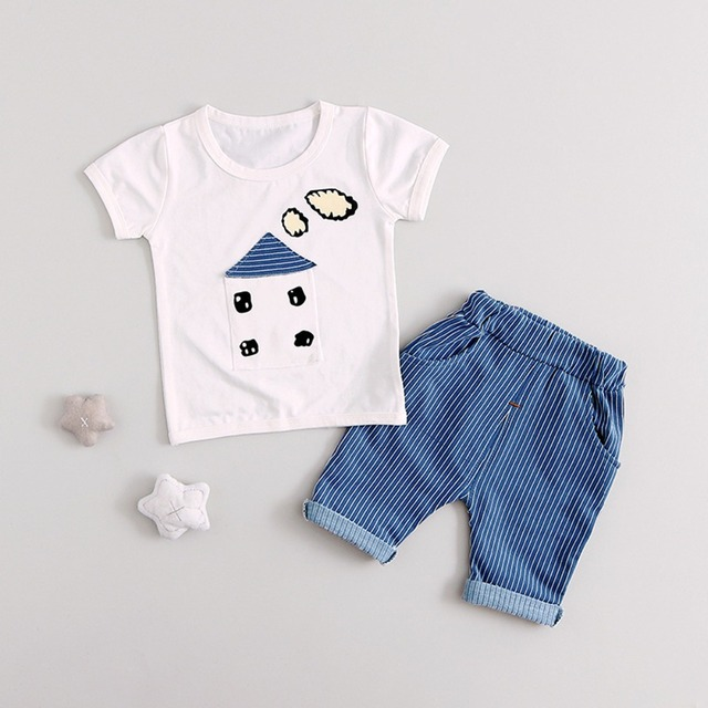 4ae669f54 3 Colors Summer Baby Boys Clothing Newborn Infant Cotton Sets Toddler Cute  Little House Two Piece Children's Clothes Suit Gifts