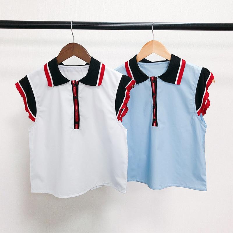Haute qualité 100% coton femmes t-shirts 2019 printemps été élégant sans manches t-shirts Tos G082