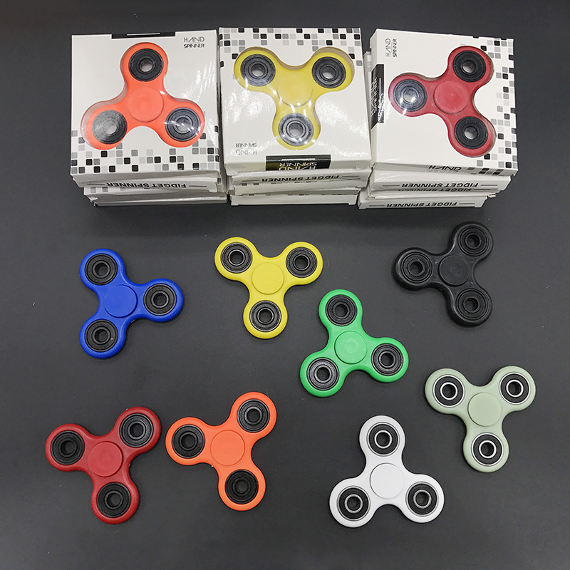 DHL Free Shipping 30-1000PCS/Lot Tri-Spinner ABS EDC Hand Spinner For Autism and ADHD Fidget Spinner Long Time Anti Stress Toys new arrived abs three corner children toy edc hand spinner for autism and adhd anxiety stress relief child adult gift