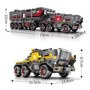 Image 2 - Sembo técnica cidade transportadora veículo caminhão a terra errante carro astronauta brinquedo conjuntos de construção tijolo cidade compatível crianças brinquedos