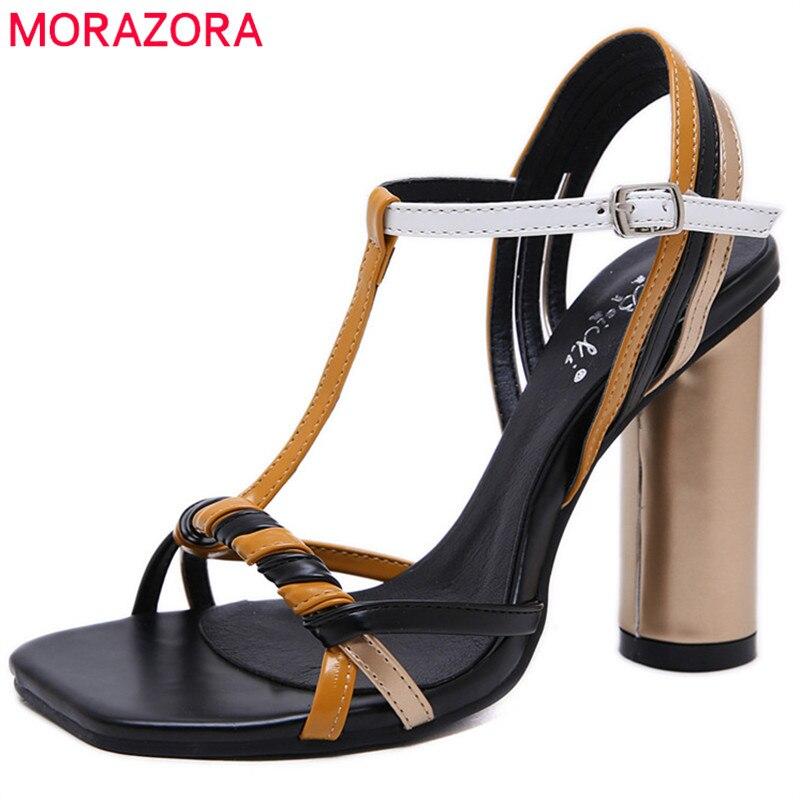 MORAZORA 2019 new arrival women sandals mixed colors summer shoes woman super high heels shoes elegant