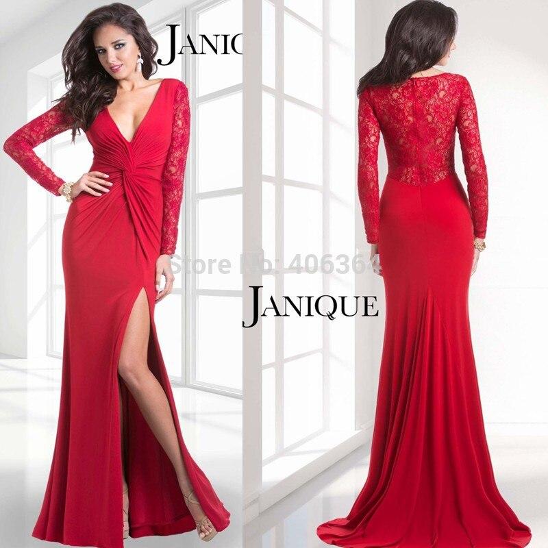 Elegant Red Long Sleeves Lace Deep V Neck Prom Dress 2014