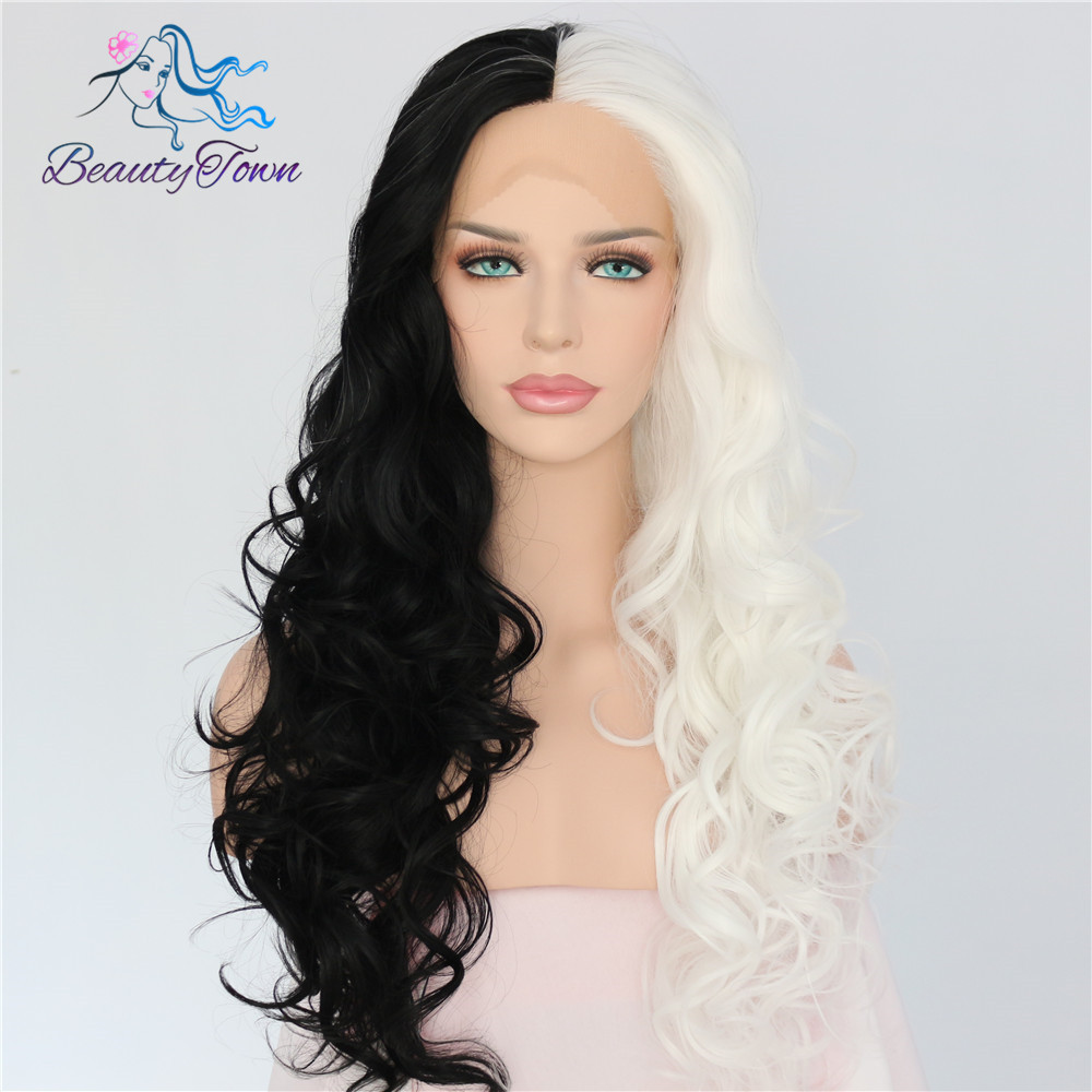 BeautyTown Half Black Half White Color Hand Tied Cruella Cosplay Masquerade Party Synthetic Lace Front Wig