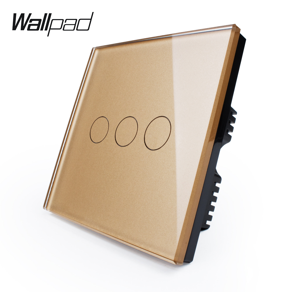 Wall Switch, home automation 3-gang 2-way UK standard Touch Light Switch VL-C303S-63 Golden Crystal LED Glass Panel smart home uk standard crystal glass panel 2 gang 2 way golden wall touch switch intelligent touch screen light touch switch led