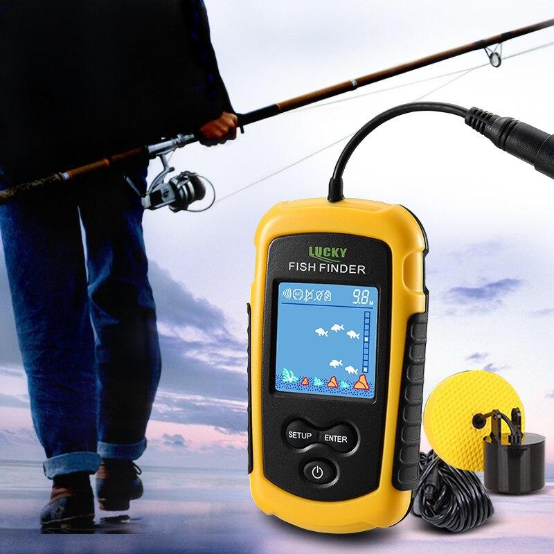 sensor de sonar de pesca de transductor con mayor distancia a/érea Lucky Buscador de profundidad inal/ámbrico port/átil alarma Fishfinder con pantalla LCD ...