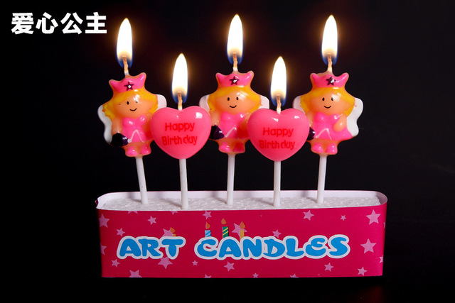 Love Heart Shape Princess Candles For Birthday Cake In Candles From