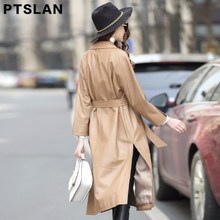 Ptslan Spring autumn Black Genuine Leather Trench Coat Waistband Women Full Sleeve Trench Europe Style Real