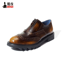 Retro Men Genuine Leather Round Toe Zipper Wing Tips Carved Brogue Shoes Business Man Dress Shoes Thick Heel Oxford