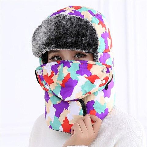 Mulheres dos Homens à Prova de Vento de Esqui Adultos Inverno Manter Aquecido Chapéu Biônico Camuflagem Térmica Cap Ouvido Proteger Mais Grosso Pelúcia Orelhas Abas Máscara Chapéus