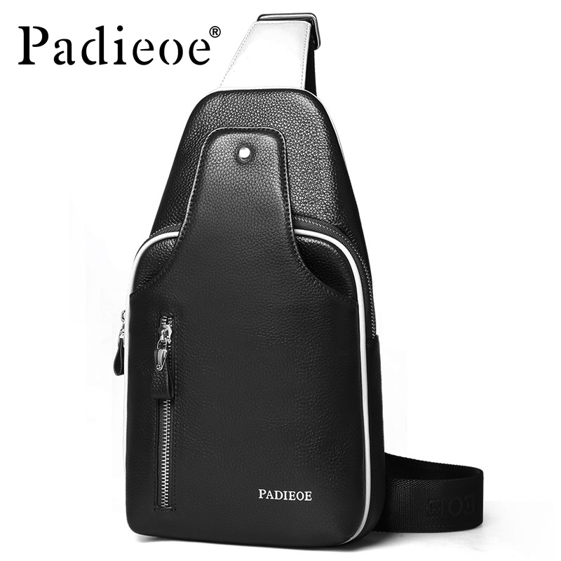 Padieoe men sling bag chest bag shoulder crossbody  bags satchel genuine leather bag fashionPadieoe men sling bag chest bag shoulder crossbody  bags satchel genuine leather bag fashion