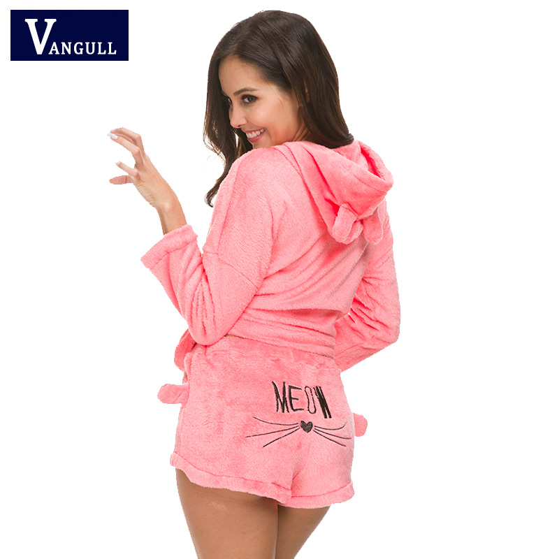 VANGULL Women Cute Cat Meow Pajamas Female Coral Velvet Suit Two Piece Soft Warm Sleepwear 2018 New Winter Hoodies Shorts Sets