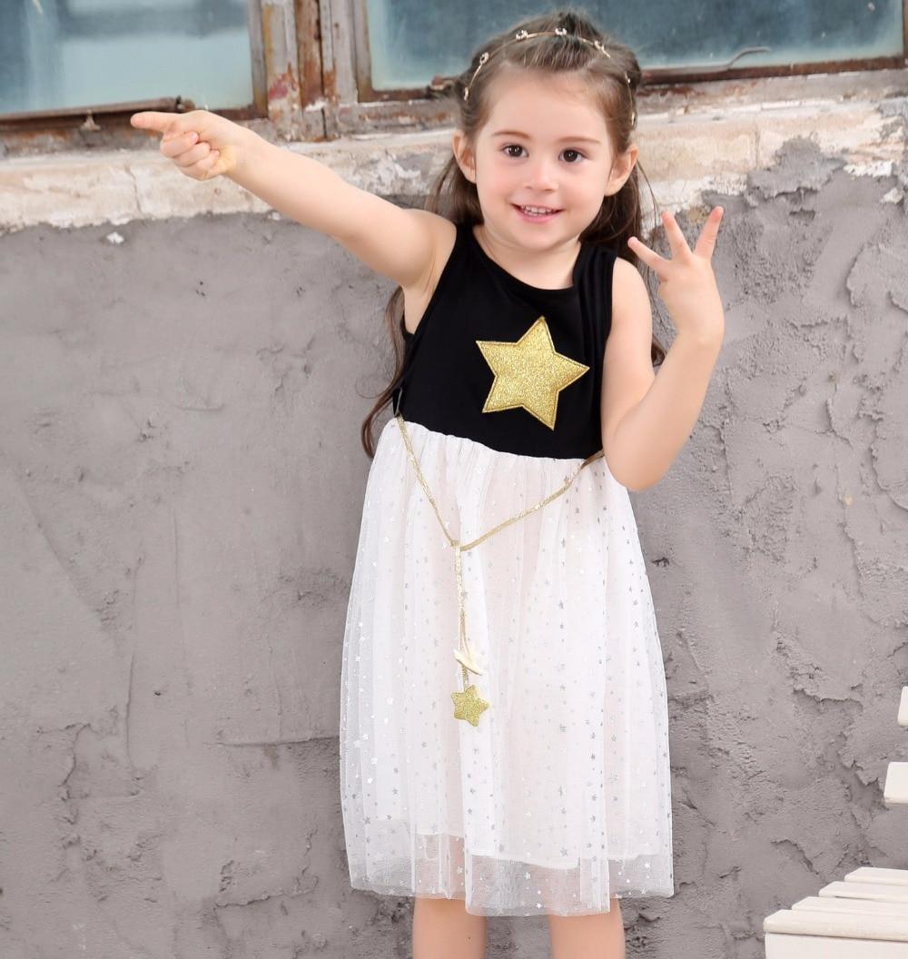 Summer children costume Kids Baby Girls Dress Stars Sequins Tulle Dresses Bow Toddler Tutu Party Princess Dress kids clothes 6