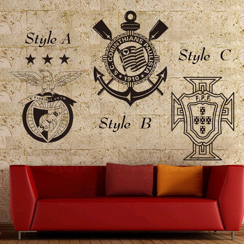 Art Design Cheap Home Decoration Portugal Football Club Mark Sports Wall Sticker Removable Brazil Soccer Team