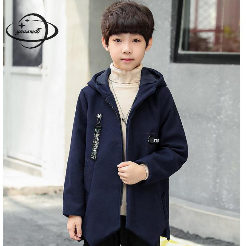 kids wool coats autumn spring 5-15Y boys blends jackets hooded clothing zipper pocket letter children outerwear clothes ly61