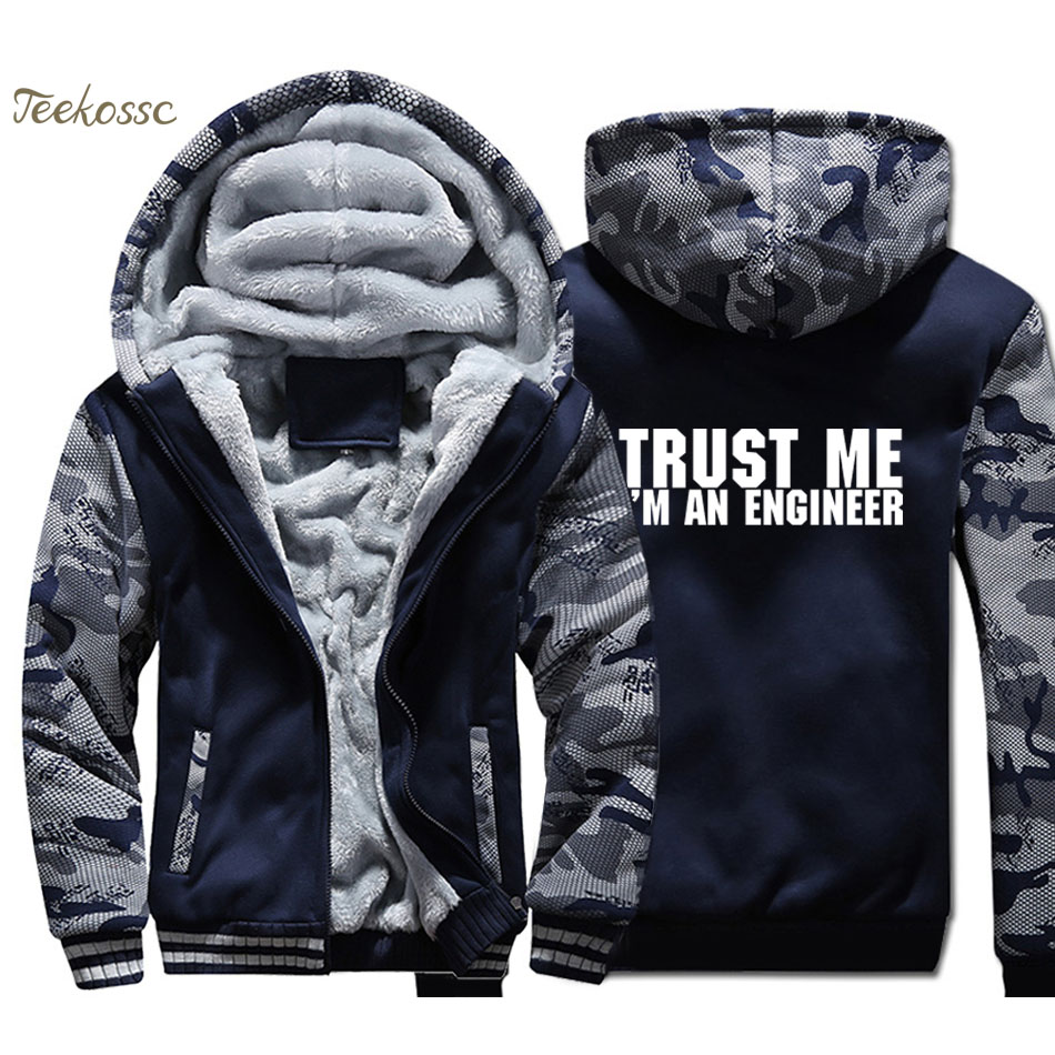 Trust Me Im An Engineer Hoodie Mens Funny Print Sweatshirt Coat 2018 Winter Warm Fleece Thick New Brand Streetwear Mens Jacket