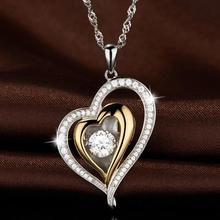 Everoyal Top Quality 925 Sterling Silver Necklace For Women Jewelry Vintage Crystal Heart Gold Pendant Girl Accessories