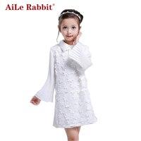 Girls Dresses 2016 New Autumn Long Sleeved Chiffon Dress Children Dress Lace White Veil Splicing Ball