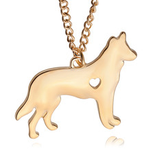exquisite lovely female Jewelry animal Shepherd Dog In Heart Necklace Pendant Fashion Jewelry For Women Pet Dog Lovers