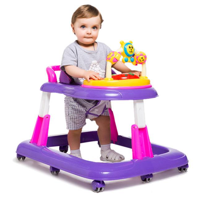 Alta Calidad Andador Musical Jugar Bandeja Multiuso Herramienta de Aprendizaje Del Niño Portátil Plegable Altura Ajustable Juguete