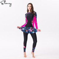 Long Sleeves Print Surfing Suits Sexy Women Padded Swimming Skirt 2019 Mujer Plus Size Rashguards Maillot De Bain Swimsuit