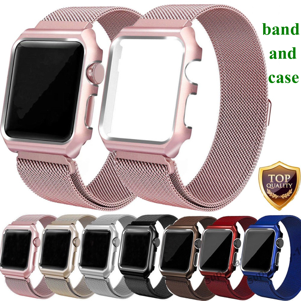 Milanese Loop Strap + Watch Case For Apple Watch band 42mm 38mm Stainless Steel Link Bracelet Wrist Watchbands for iwatch 3/2/1 sport loop for apple watch band case 42mm 38mm nylon watch strap bracelet with metal frame protector case cover for iwatch 3 2 1