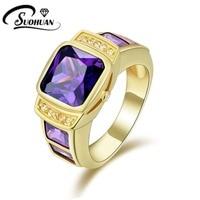 Hombre de la manera de la joyería Amethyst púrpura anillos Cz IP Oro amarillo Llenó el Anillo Del Aniversario para los hombres Regalo Size8, 9,10, 11R058