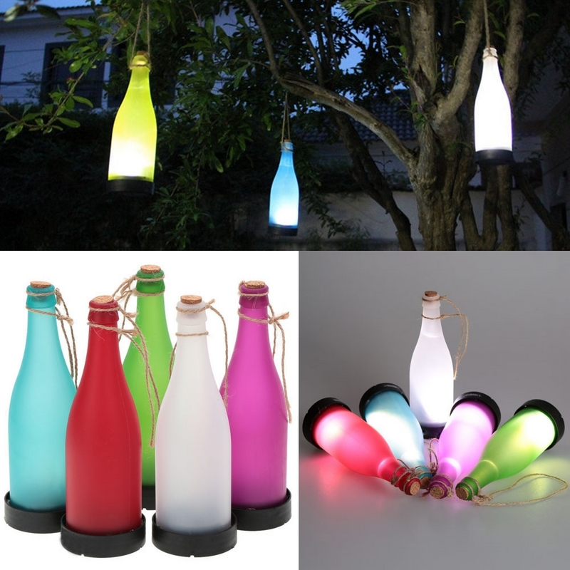5 Pcs Waterproof Cork Wine Bottle Garden Solar Led Lights Outdoor Hanging  Lighting Lamp For Party