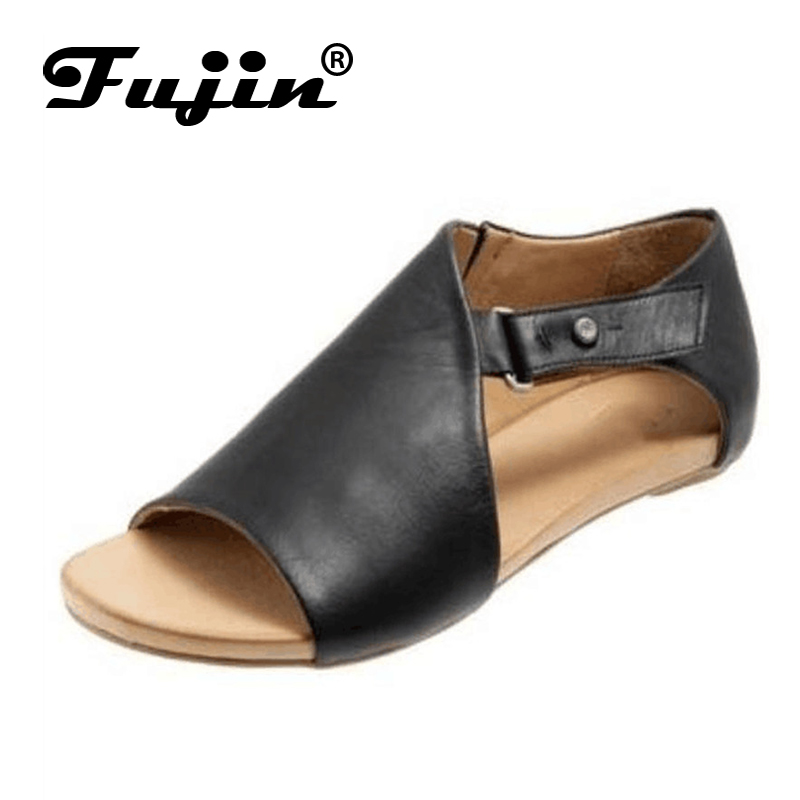 Fujin Sandals Women Single-Shoes Designer Summer Luxury Buckle Pu-Large-Size Flat-Bottomed