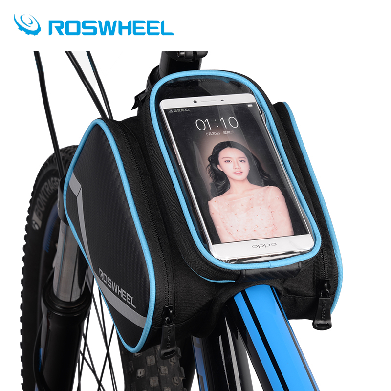 ROSWHEEL 6.2 Inch waterproof phone touch screen bike bags front frame top tube cycling bag road MTB mountain bicycle accessorie roswheel bicycle bag mtb bike front frame top tube bag cycling bags panniers accessories 600d polyester pure color series 12654